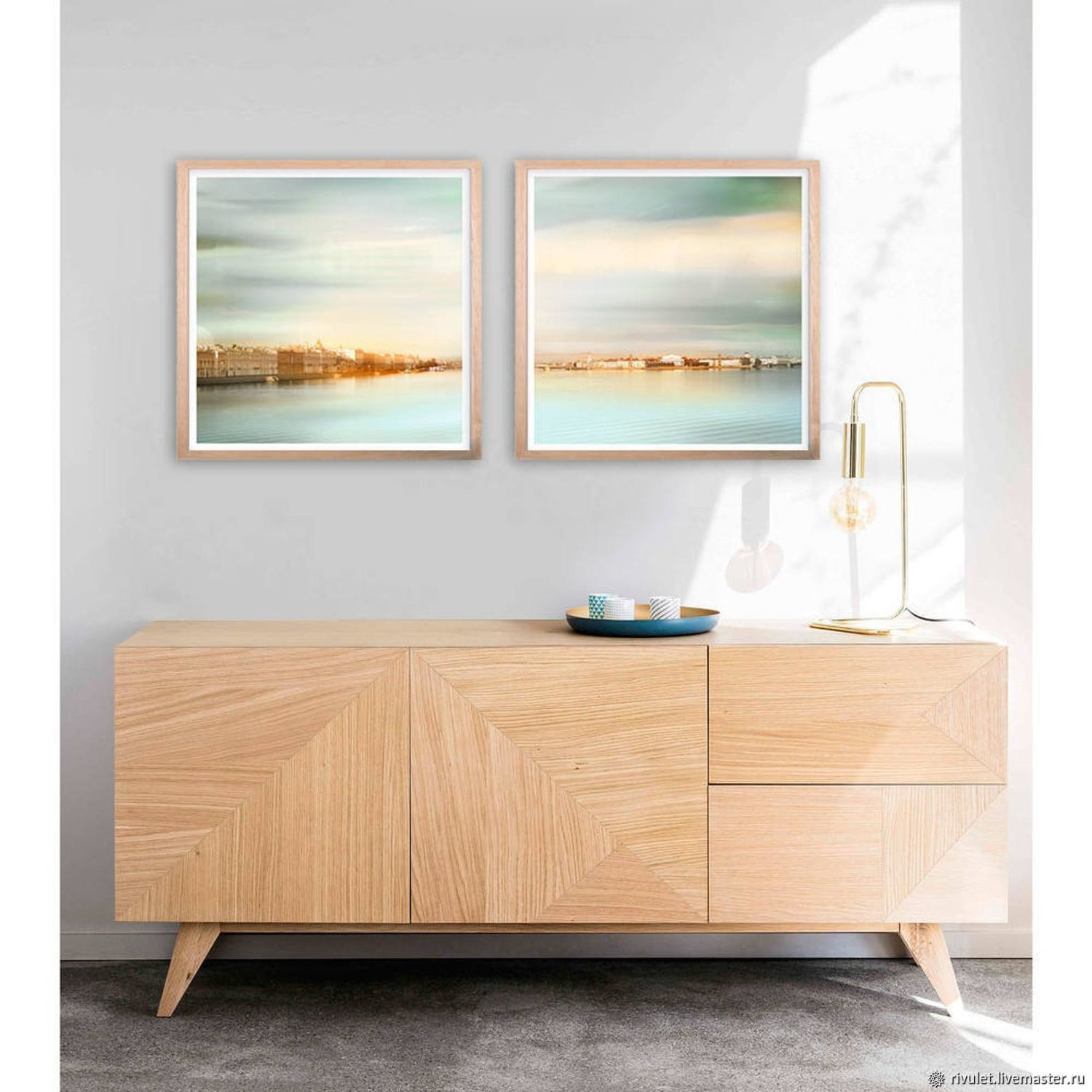 Modern Paintings for interior Urban landscape with water Diptych, Pictures, Moscow,  Фото №1