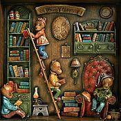 """Картины и панно ручной работы. Ярмарка Мастеров - ручная работа """"Мишки тоже читают книжки"""" папье-маше на дереве. Handmade."""