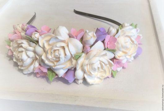 Свадебные украшения ручной работы. Ярмарка Мастеров - ручная работа. Купить Свадебный ободок с цветами из полимерной глины Прованс. Handmade.