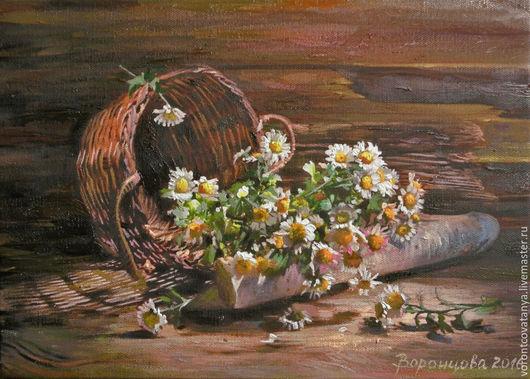 """Картины цветов ручной работы. Ярмарка Мастеров - ручная работа. Купить """"Ромашки"""". Handmade. Комбинированный, цветы, натюрморт с цветами"""