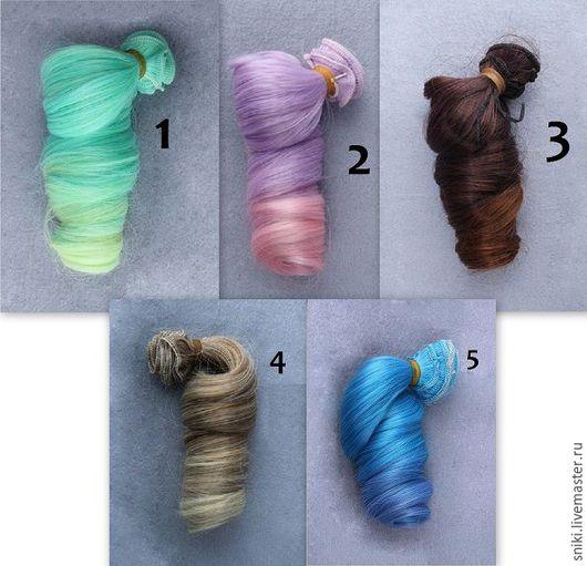 Куклы и игрушки ручной работы. Ярмарка Мастеров - ручная работа. Купить Волосы локоны омбре 5 цветов. Handmade. Разноцветный
