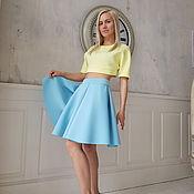 Одежда ручной работы. Ярмарка Мастеров - ручная работа Короткая юбка неопрен небесная и топ лимон. Handmade.