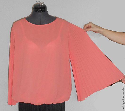 Блузки ручной работы. Ярмарка Мастеров - ручная работа. Купить Блуза с рукавами-гофре. Handmade. Коралловый, блуза, гофре, шифон