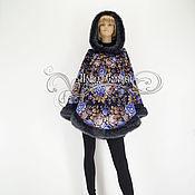 """Одежда ручной работы. Ярмарка Мастеров - ручная работа Пончо с капюшоном """"Цветочная сказка-7"""" из Павлопосадского платка. Handmade."""
