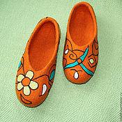 """Обувь ручной работы. Ярмарка Мастеров - ручная работа Домашние тапочки """"Графика Nr.7"""". Handmade."""