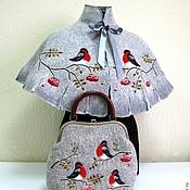 """Одежда ручной работы. Ярмарка Мастеров - ручная работа Пончо и сумка """"Снегири"""". Handmade."""