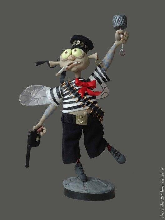 Коллекционные куклы ручной работы. Ярмарка Мастеров - ручная работа. Купить Малый,полосатый мух. Handmade. Серый, лента, дерево
