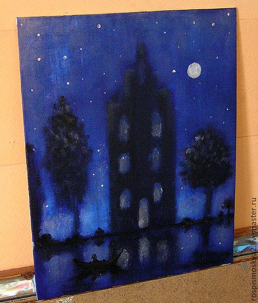 Пейзаж ручной работы. Ярмарка Мастеров - ручная работа. Купить Картина  Найди  лодочку   акрил 30Х24 пейзаж  деревья  дом синий. Handmade.