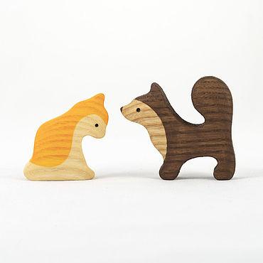 Куклы и игрушки ручной работы. Ярмарка Мастеров - ручная работа Кошка и собака, деревянные развивающие  игрушки.. Handmade.