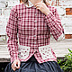 Пиджаки, жакеты ручной работы. Ярмарка Мастеров - ручная работа. Купить Льняной жакет в клетку.. Handmade. Женская одежда