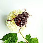 """Украшения handmade. Livemaster - original item Аппликация-брошь (пришивная) """"Из жизни жуков"""". Handmade."""