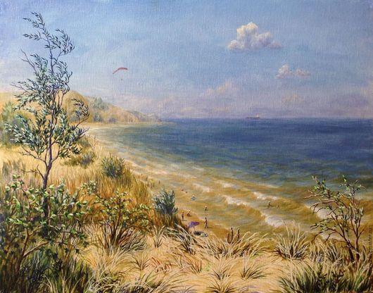 Пейзаж ручной работы. Ярмарка Мастеров - ручная работа. Купить Море, волны, пляж, степь и облака. Handmade. Море, Крым