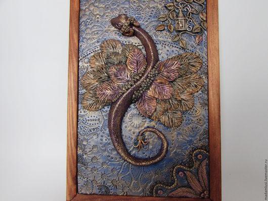 """Фэнтези ручной работы. Ярмарка Мастеров - ручная работа. Купить """"Дракон"""" панно из полимерной глины. Handmade. Комбинированный, настольная картина"""