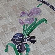 """Для дома и интерьера ручной работы. Ярмарка Мастеров - ручная работа """" Ирисы на камнях"""" столик с мозаикой. Handmade."""