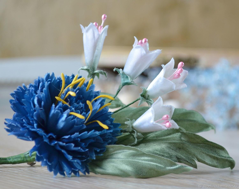 Fabric flowers 'cornflower and bells', Brooches, Lyubertsy,  Фото №1