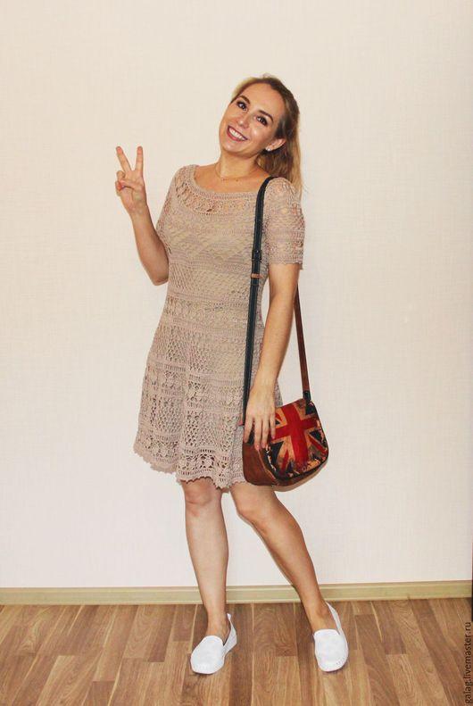 Платье создающее хорошее настроение Бежевого цвета. Хлопок 100% Авторская работа. By_gala_zarubina