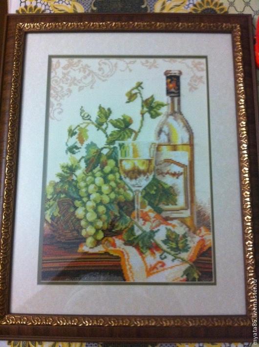 Натюрморт ручной работы. Ярмарка Мастеров - ручная работа. Купить Натюрморт с виноградом. Handmade. Зеленый, картина для кухни, нитки, канва