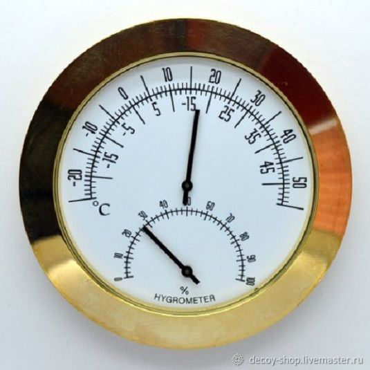 Thermometer Hygrometer, capsular mechanism. The diameter of 60 mm. External diameter - 65 mm. 340 RUB.