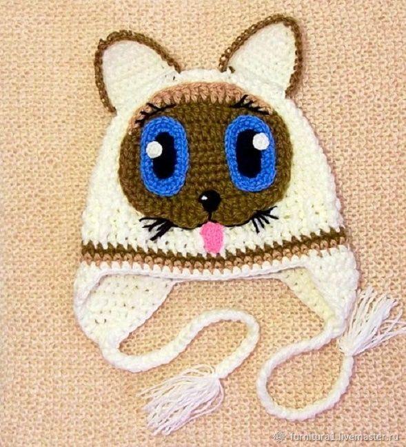 Одежда шапка для малышей котенок Гав теплая вязаная зимняя белая, Одежда, Москва,  Фото №1