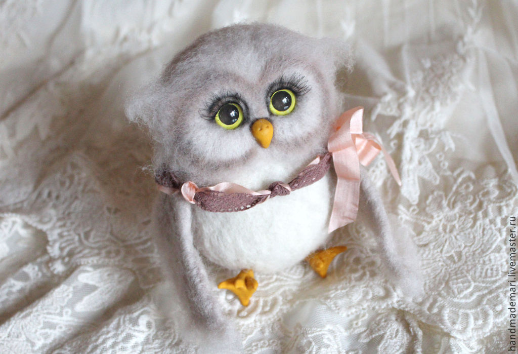 Hedwig owl toy from wool, Felted Toy, Moscow,  Фото №1