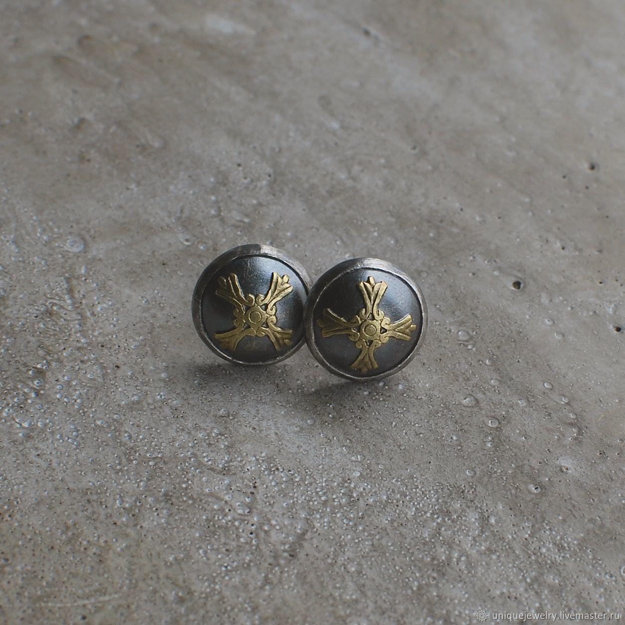 Silver and brass stud earrings, Stud earrings, Moscow,  Фото №1