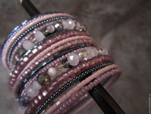 """Браслеты ручной работы. Ярмарка Мастеров - ручная работа. Купить Браслет """"Под облаками"""". Handmade. Розовый, браслет многорядный"""