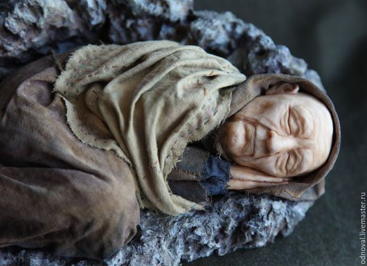 Коллекционные куклы ручной работы. Ярмарка Мастеров - ручная работа. Купить Старик, спящий как ребенок, авторская кукла. Handmade. Коричневый