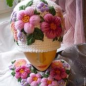 Аксессуары handmade. Livemaster - original item Mittens and beanie with embroidery