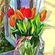 """Картины цветов ручной работы. Ярмарка Мастеров - ручная работа. Купить акварель """"Песнь весне"""". Handmade. Разноцветный, тюльпаны, весна"""