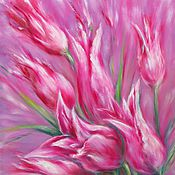 Pictures handmade. Livemaster - original item Original floral oil painting on canvas Pink Tulips. Handmade.