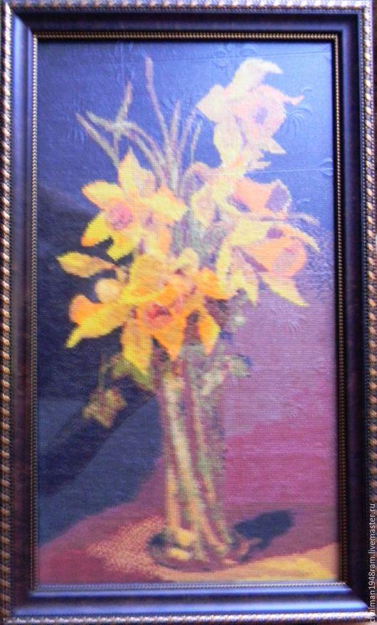 """Картины цветов ручной работы. Ярмарка Мастеров - ручная работа. Купить Вышивка крестом """"Нарциссы"""". Handmade. Комбинированный, цветы"""