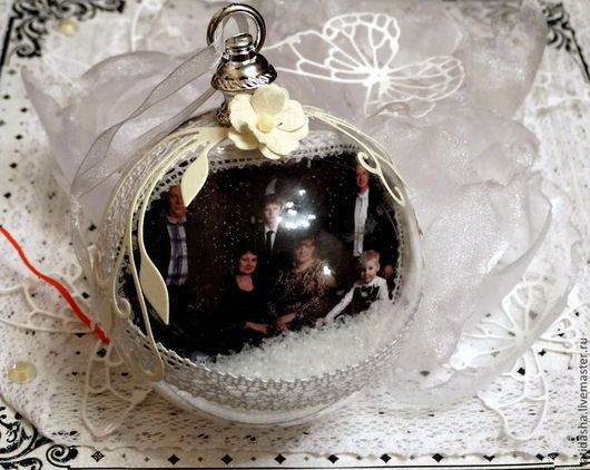 Персональные подарки ручной работы. Ярмарка Мастеров - ручная работа. Купить елочные шары с фотографиями. Handmade. Белый, подарок на новый год