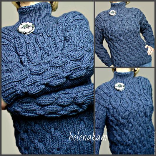 Кофты и свитера ручной работы. Ярмарка Мастеров - ручная работа. Купить свитер вязаный джинс. Handmade. Свитер, свитер с рисунком