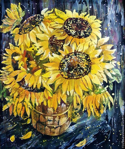 Картины цветов ручной работы. Ярмарка Мастеров - ручная работа. Купить Подсолнухи. Handmade. Желтый, натюрморт с цветами, батик панно