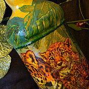 Подарки к праздникам ручной работы. Ярмарка Мастеров - ручная работа ИСТОРИЯ ДЖУНГЛЕЙ,ЛЕОПАРДЫ  большая бутылка (пустая). Handmade.