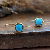 Украшения handmade. Livemaster - original item Earrings c diced natural turquoise. Handmade.