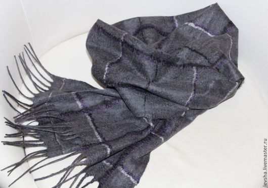 """Шарфы и шарфики ручной работы. Ярмарка Мастеров - ручная работа. Купить Шарф мужской валяный """"Scotland Grey"""". Handmade. Серый"""