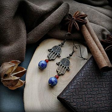 Decorations handmade. Livemaster - original item Hamsa earrings with natural stones (sodalite and carnelian).. Handmade.