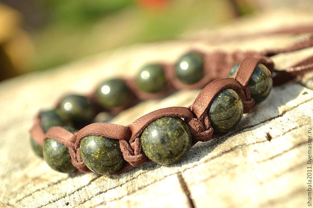 Shamballa bracelet leather stone serpentine. Men's bracelet. women's bracelet.