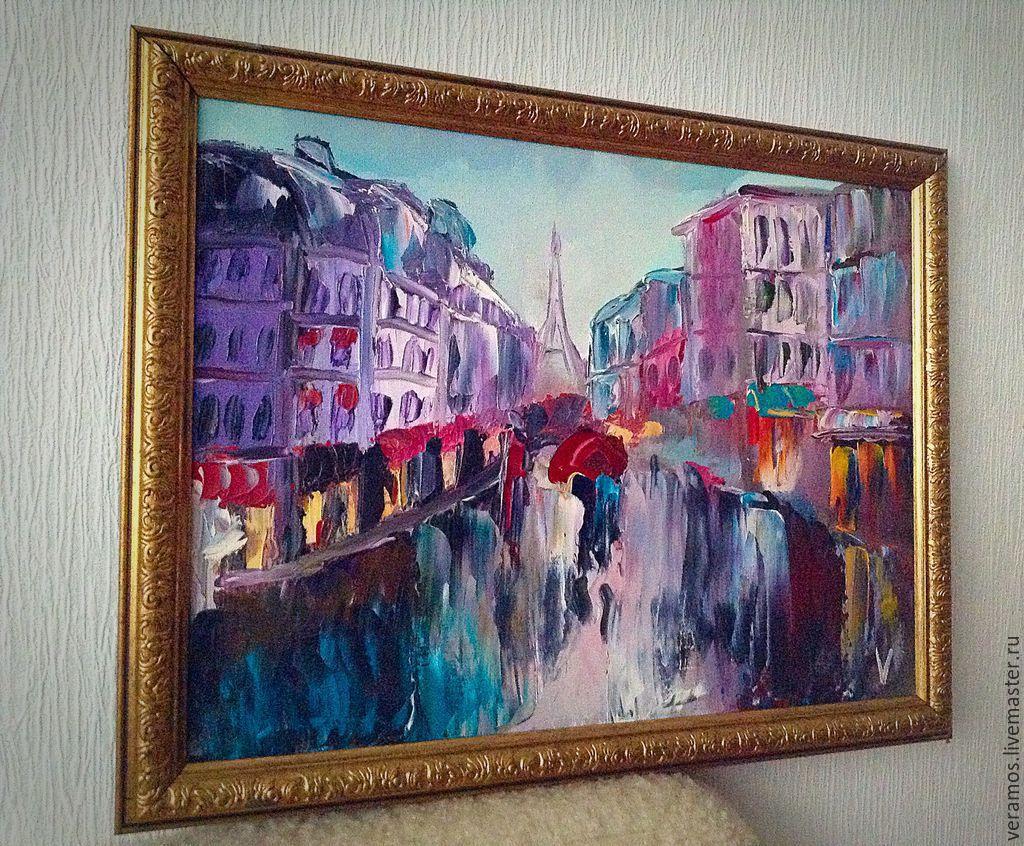 """""""Дождливый Париж"""" картина (масло,холст 30х40) – купить на ...  Дождливый Город Картина"""