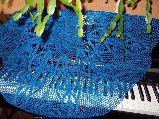 Текстиль, ковры ручной работы. Ярмарка Мастеров - ручная работа. Купить Cкатерть цвета индиго 95см. Handmade. Тёмно-синий