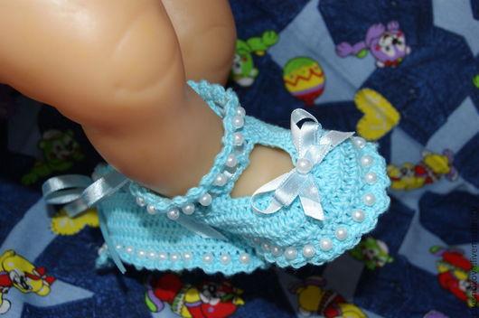 """Для новорожденных, ручной работы. Ярмарка Мастеров - ручная работа. Купить Вязанные пинетки для малышей  """"бусинки"""". Handmade. Голубой"""