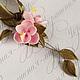 Кулон с цветами сакуры из полимерной глины. Цена 900р В наличии