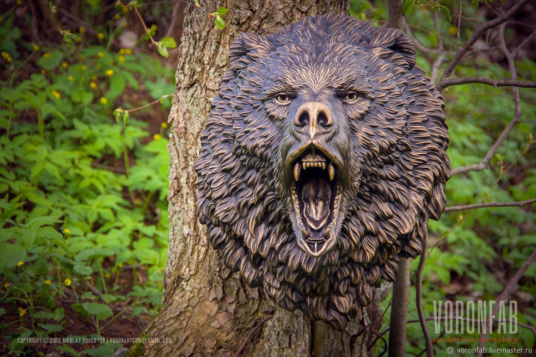 Сердитый Медведь голова животного бронза медь имитация, Скульптуры, Вологда,  Фото №1