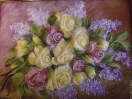 Натюрморт ручной работы. Ярмарка Мастеров - ручная работа. Купить Картина из шерсти Розы и сирень. Handmade. Разноцветный, интерьерная картина
