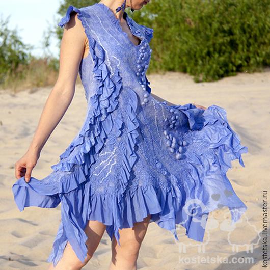 """Платья ручной работы. Ярмарка Мастеров - ручная работа. Купить Нуно- платье """"Индиго"""" синий ультрамарин шелк шерсть. Handmade."""