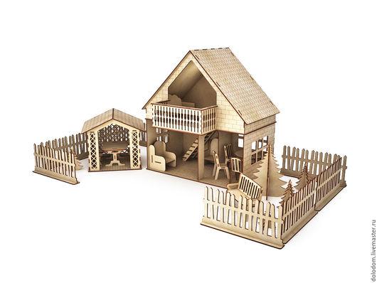 Кукольный дом ручной работы. Ярмарка Мастеров - ручная работа. Купить КД-0000017  Кукольный домик с беседкой и забочиком. Handmade.