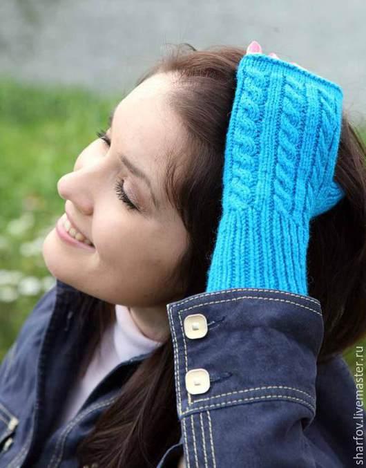 митенки, митенки женские, митенки вязаные, митенки вязанные, лазурный, голубой, бирюзовый