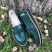 Обувь ручной работы handmade. Livemaster - original item Pumps: green suede/green leather. Handmade.
