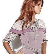 Одежда ручной работы. Ярмарка Мастеров - ручная работа Платье с сетчатой кокеткой /пыльно-фиолетовое. Handmade.